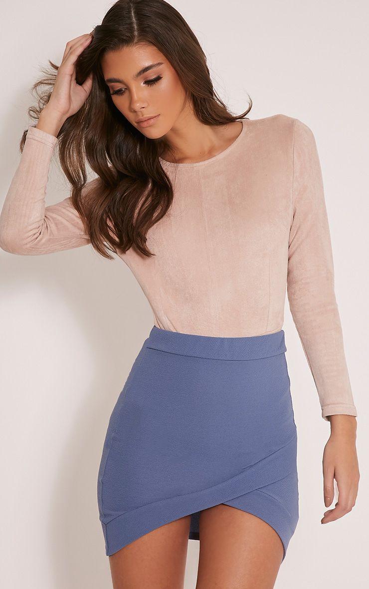 Gabriella Petrol Blue Asymmetric Mini Skirt 1