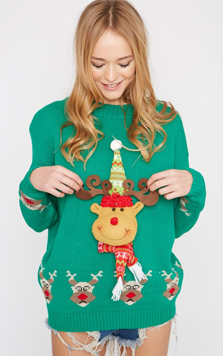 Jelissa Green 3D Rudolph Head Christmas Jumper 1