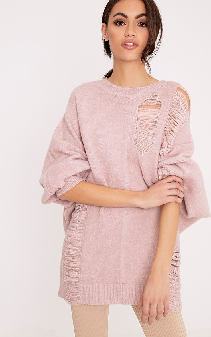 Raysha Blush Distressed Over Sized Knitted Jumper 1