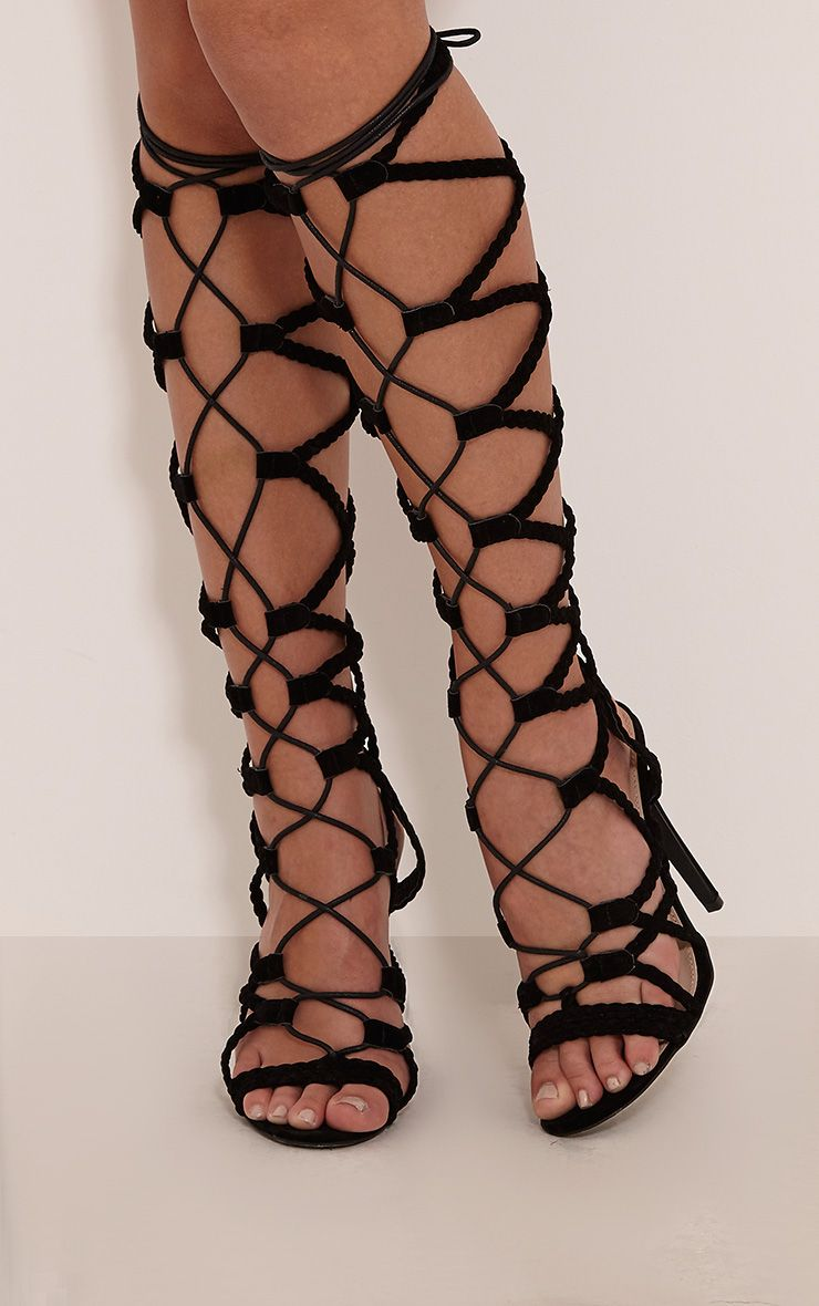Lexi Black Lace Up Gladiator Heels 1