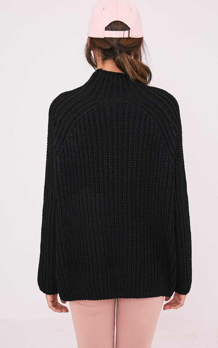 Rheana Black Oversized Chunky Knit Jumper 2
