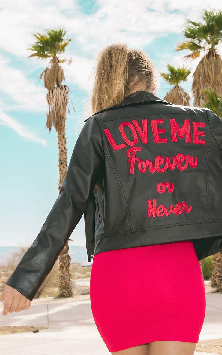 Love Me Forever Slogan PU Biker Jacket