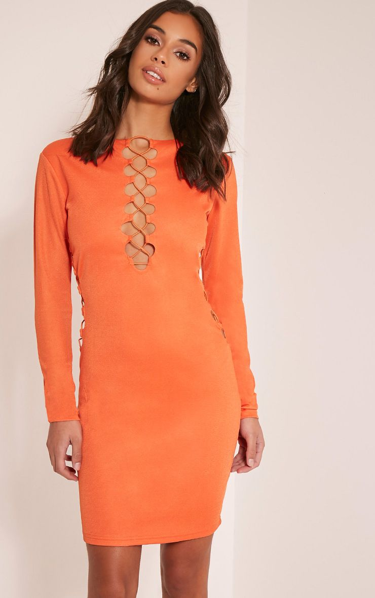 Mellina Bright Orange Lace Up Detail Bodycon Dress