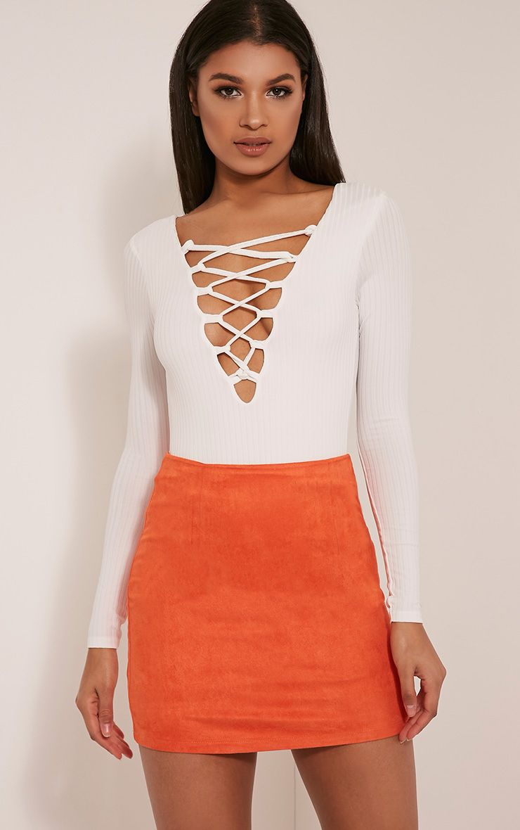 Lauree Orange Faux Suede Mini Skirt 1