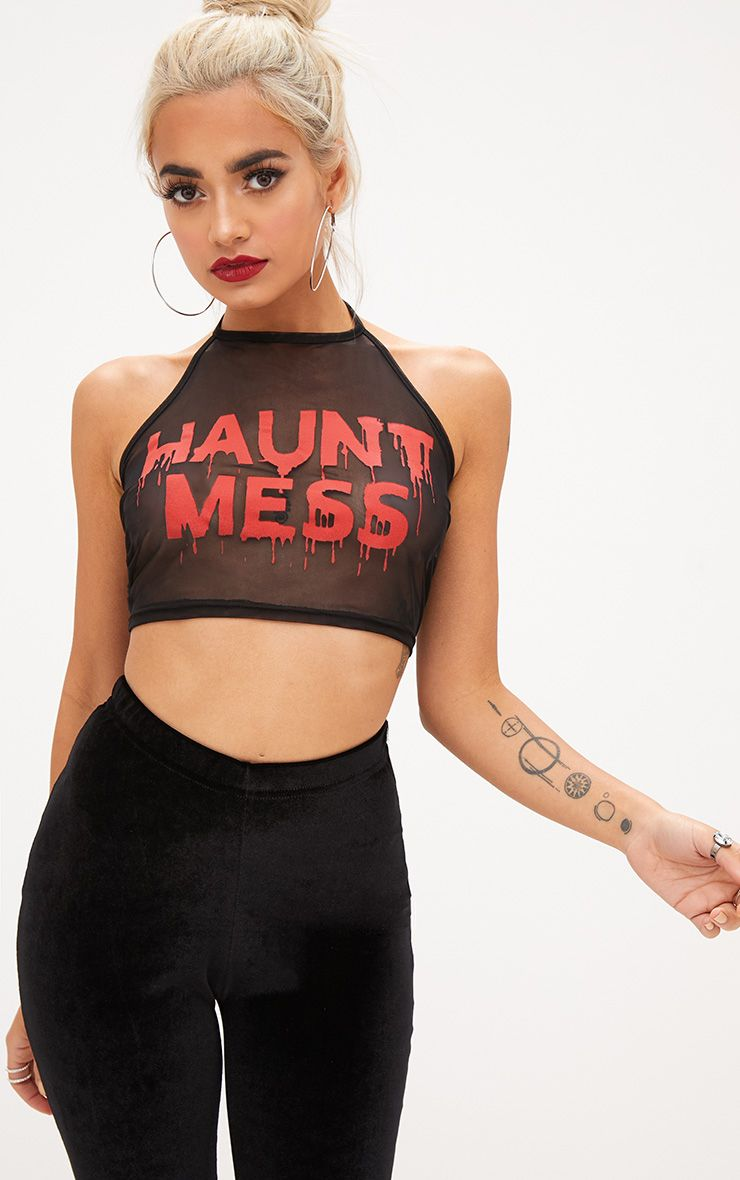 Haunt Mess Slogan Black Mesh Crop Top