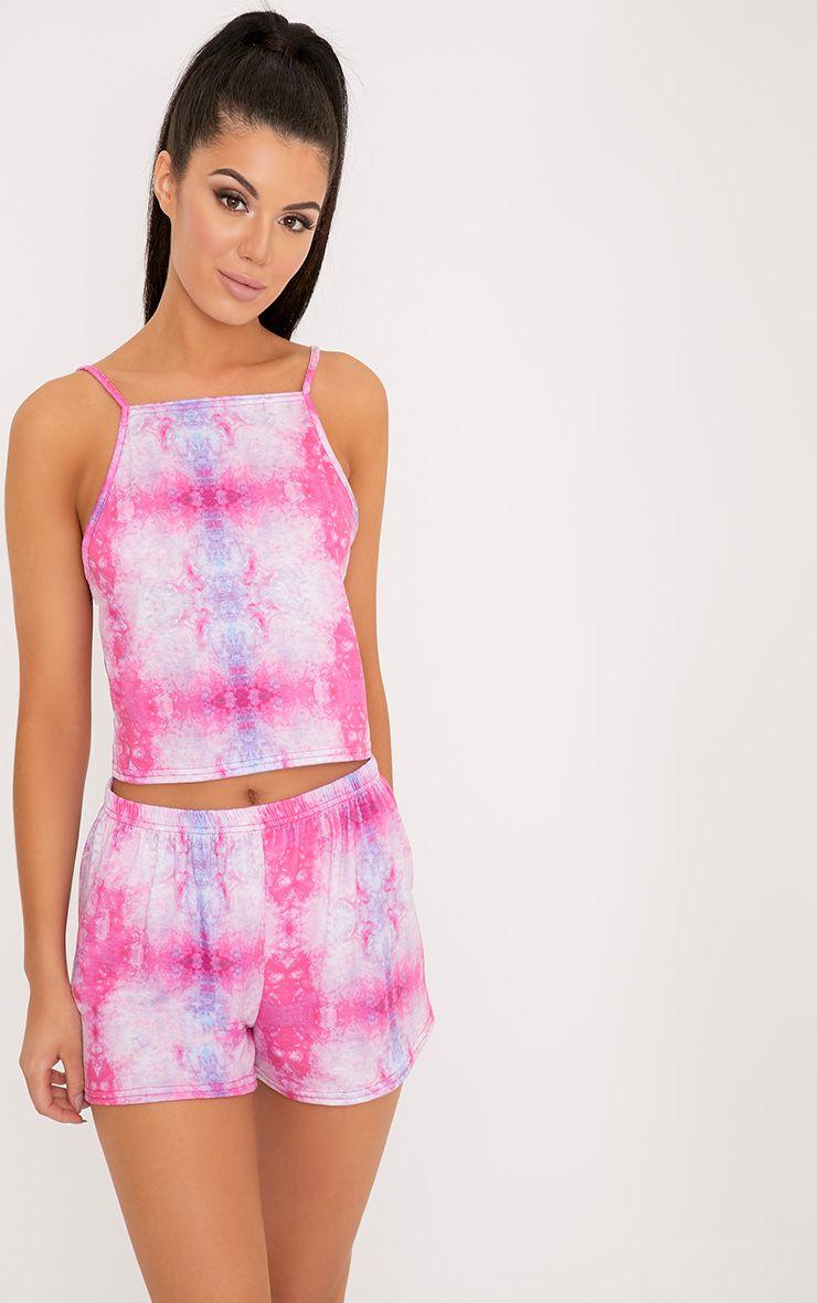 Celine Pink Tie Dye Cami & Short Set