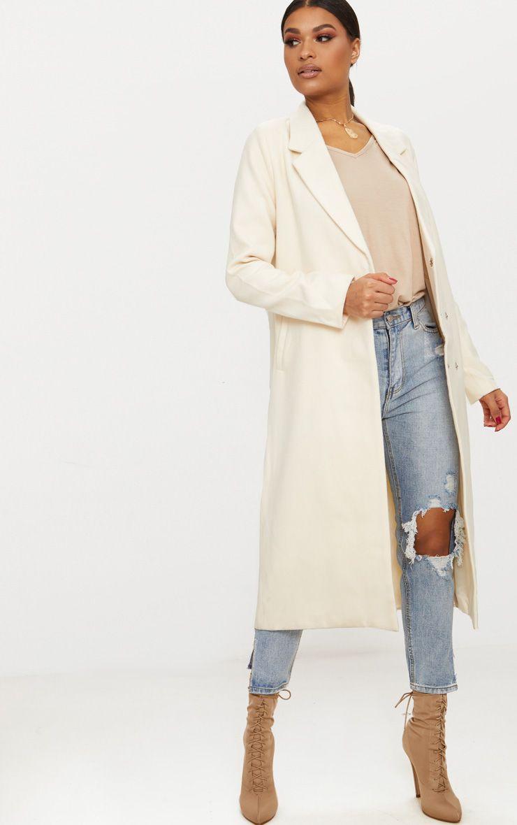 Cream Double Breasted Longline Coat