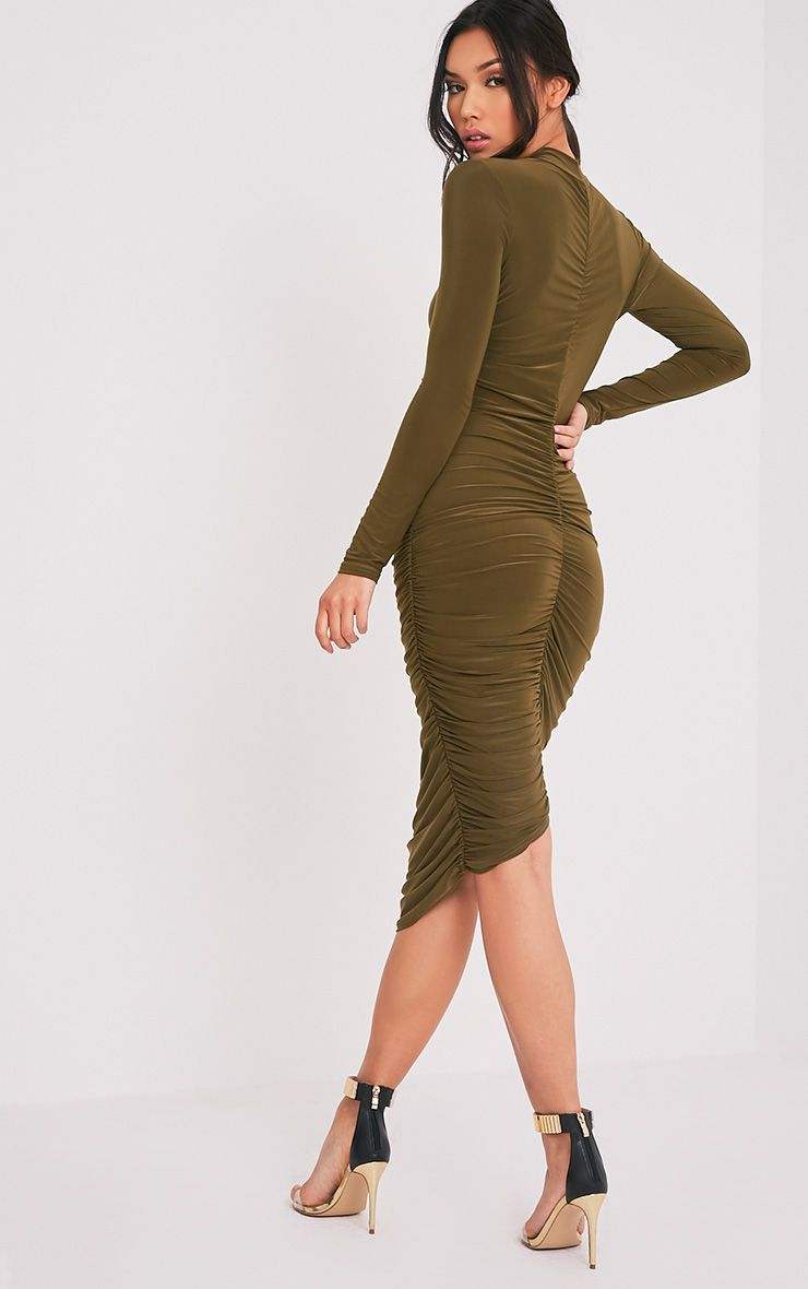 Niyah Khaki Slinky Ruched Midi Dress