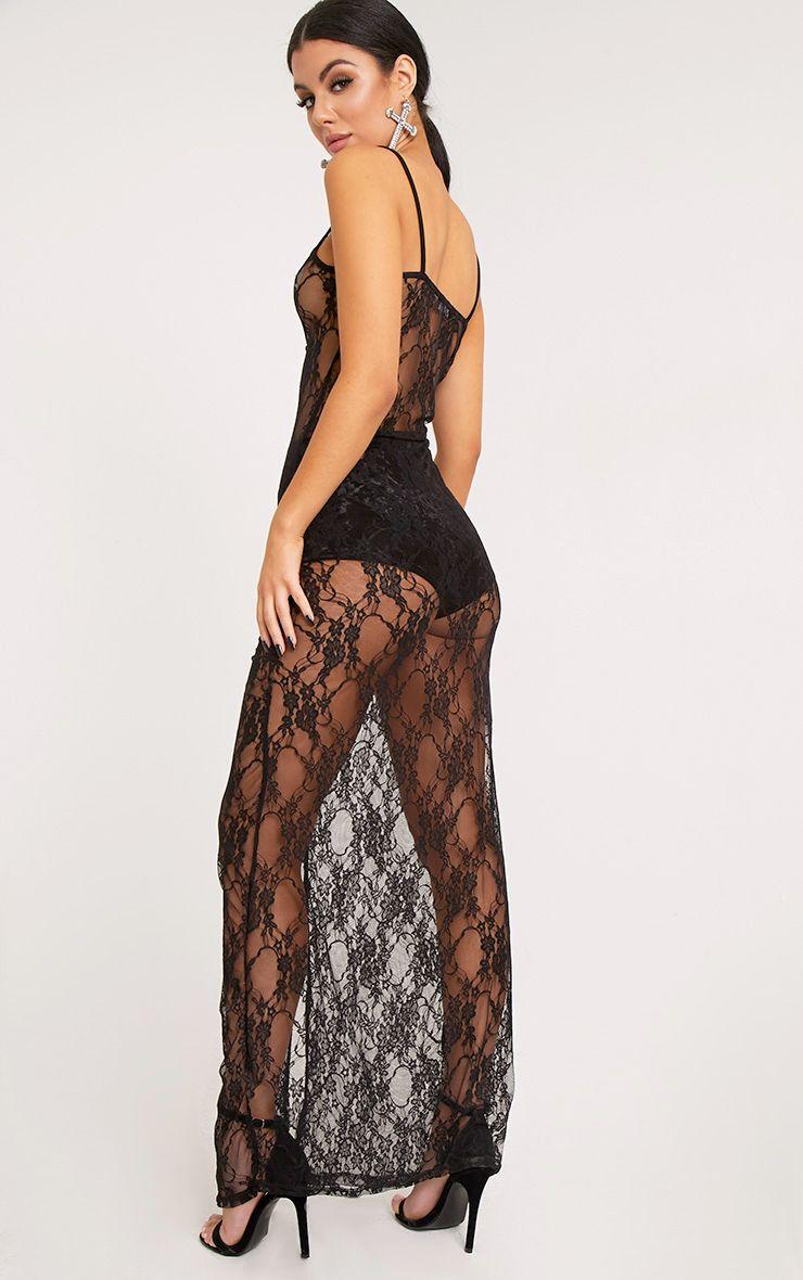 Kelsia Black Lace Plunge Maxi Dress