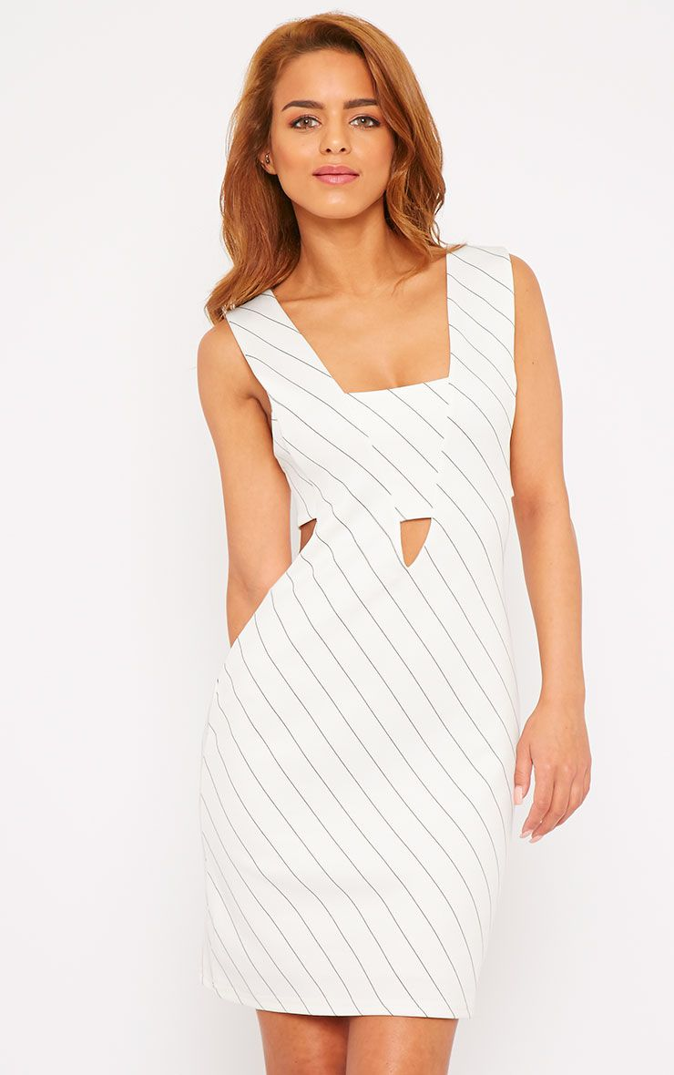 Shamayne White V-Neck Stripe Dress  1
