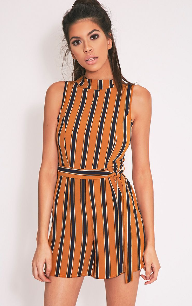 Driah Mustard High Neck Tie Waist Playsuit