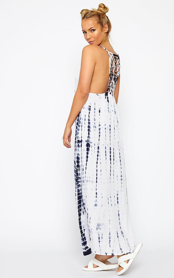 Amoura Blue Tie Dye Lattice Back Dress 1