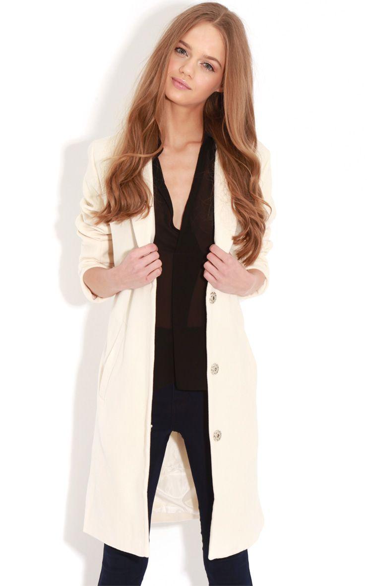 Avril Cream Longlined Boyfriend Coat 1