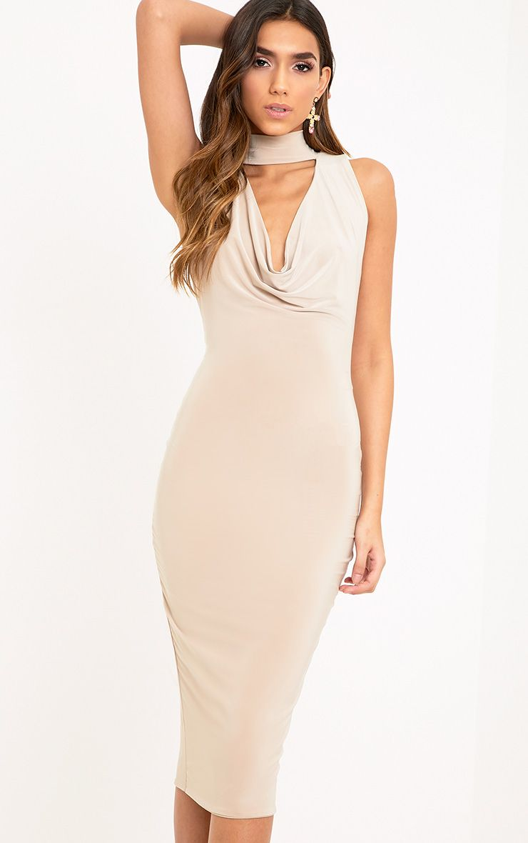 Nayasha Nude Slinky Choker Wrap Midi Dress