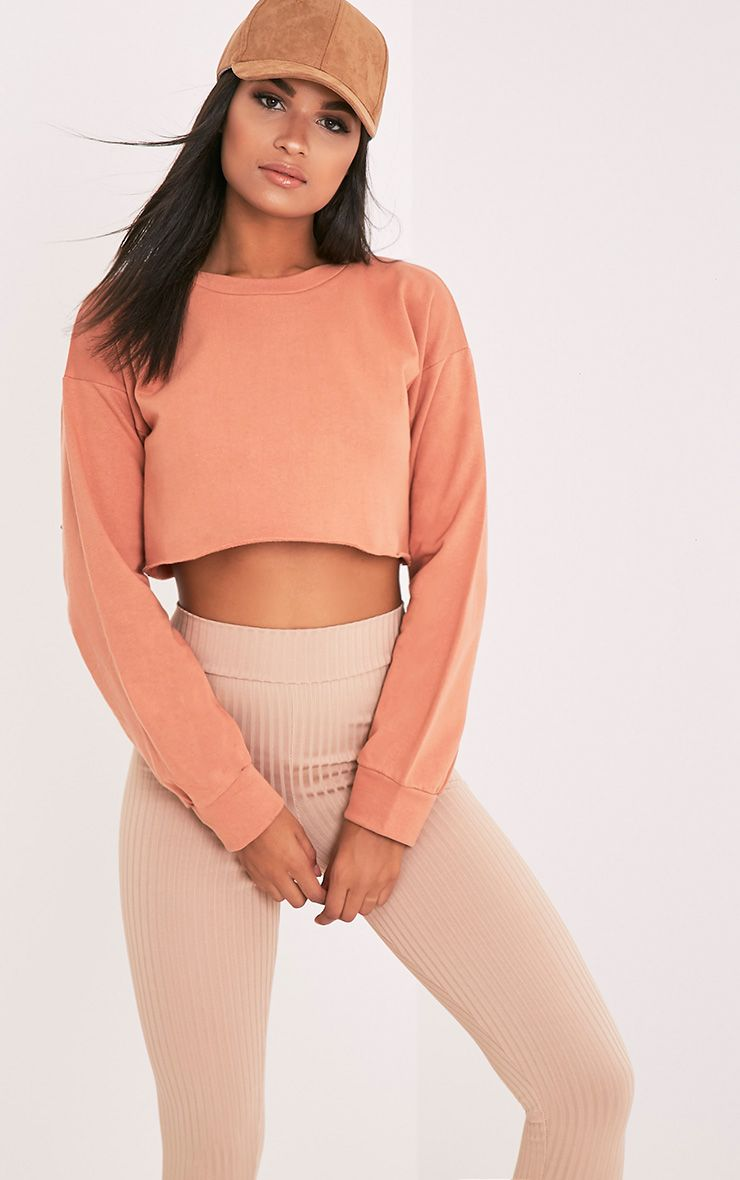 Beau Deep Peach Cut Off Crop Longsleeve Sweater