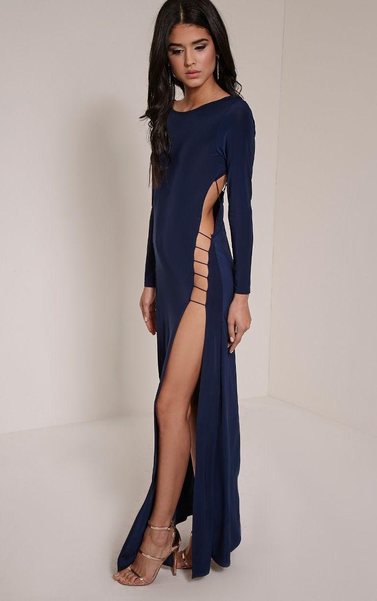 Tyla Navy Strappy Back Split Side Maxi Dress 1