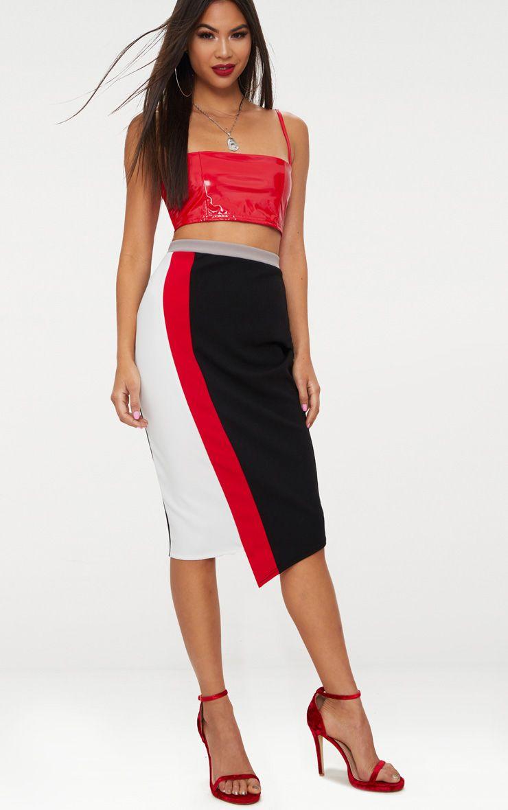 Black Colour Block Midi Skirt