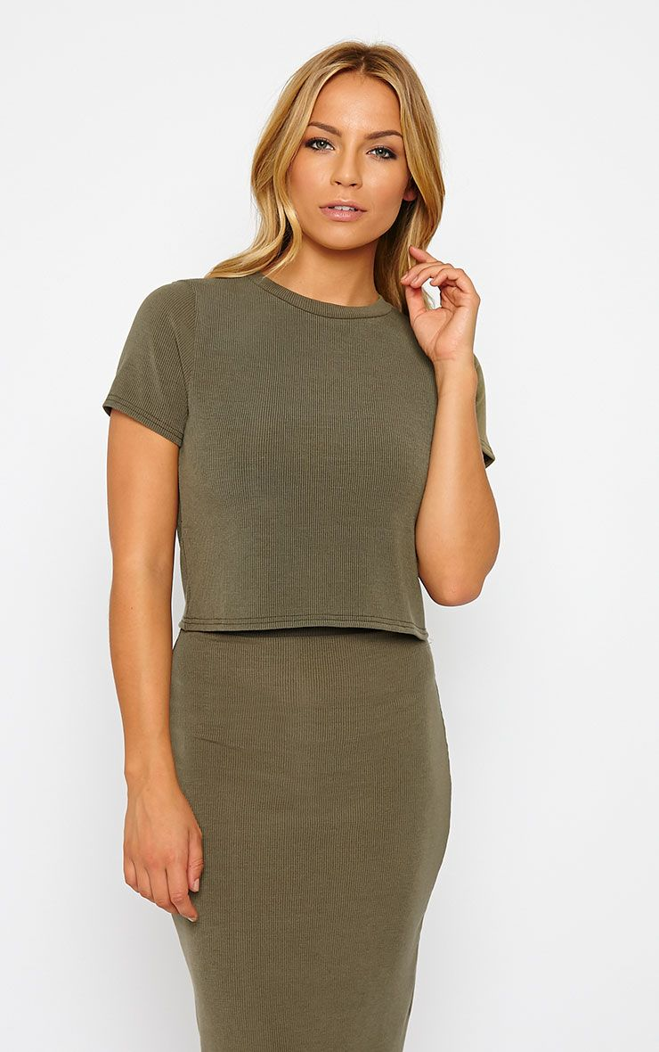 Basic Khaki Short Sleeve Crop Top 1