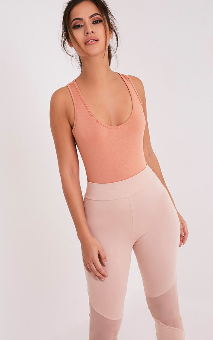 Basic Peach Racer Back Thong Bodysuit