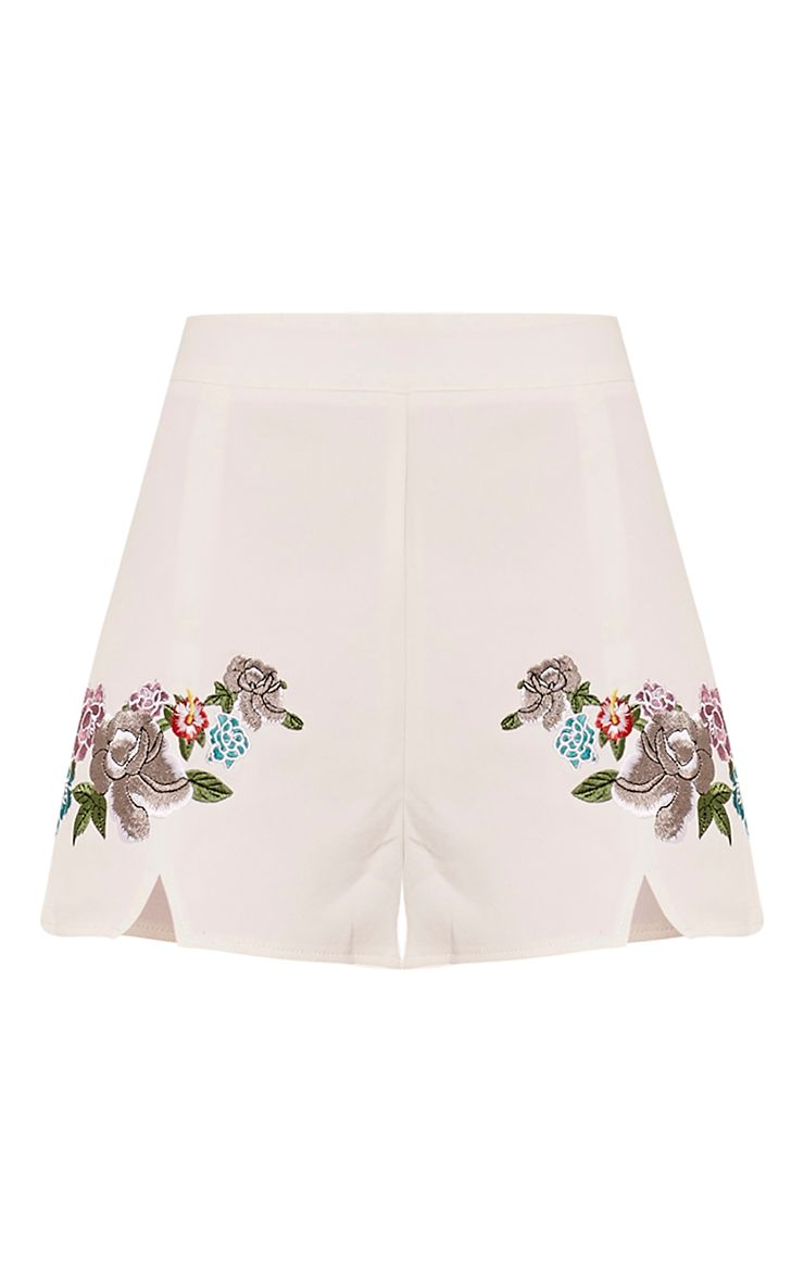Angie white floral embroidered shorts