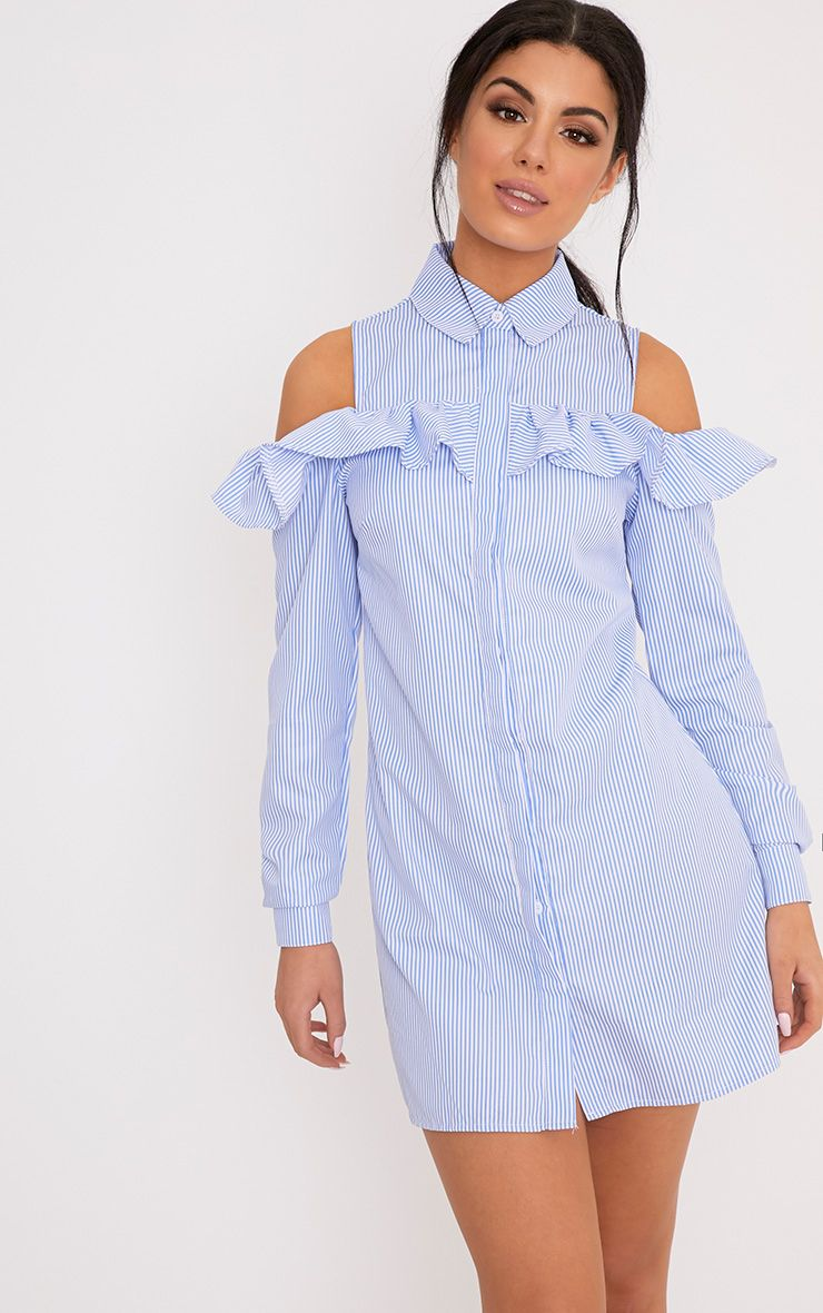 Yasmin Blue Pinstripe Frill Detail Shirt Dress