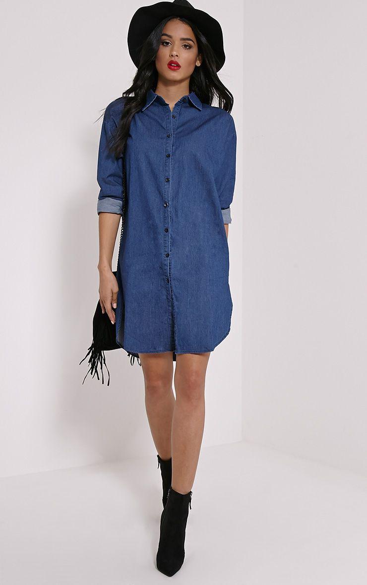 Jolie Blue Denim Shirt Dress 1