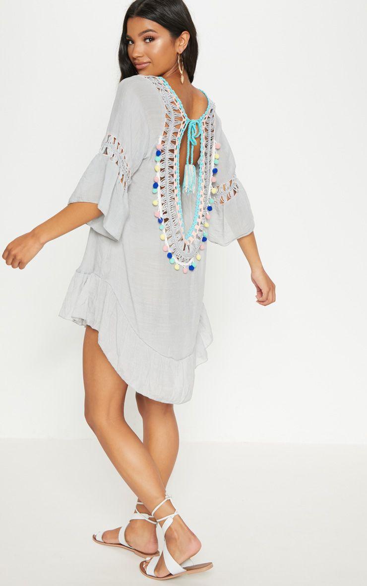 Light Grey Pom Pom Crochet Back Frill Hem Sheer Shift Dress