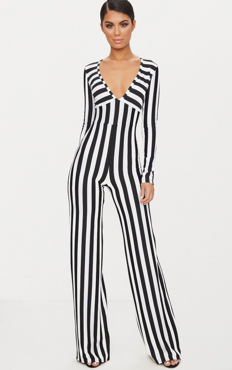 Monochrome Striped Long Sleeve Plunge Jumpsuit