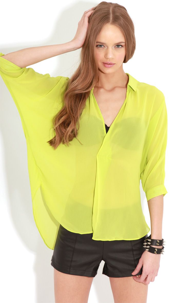 Cate Lime Sheer Wrap Front Blouse 1