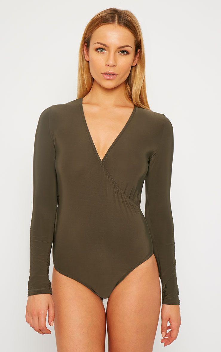 Sadie Dark Khaki Slinky Wrap Bodysuit 1