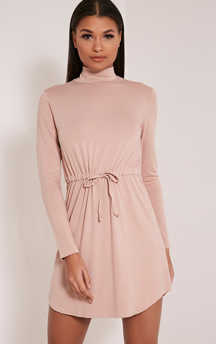 Halle Taupe Tie Waist Long Sleeve Jersey Bodycon Dress 1