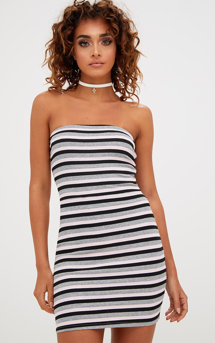 Grey Striped Bodycon Dress