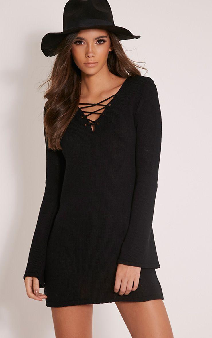 Nena Black Knitted Bell Sleeve Dress 1