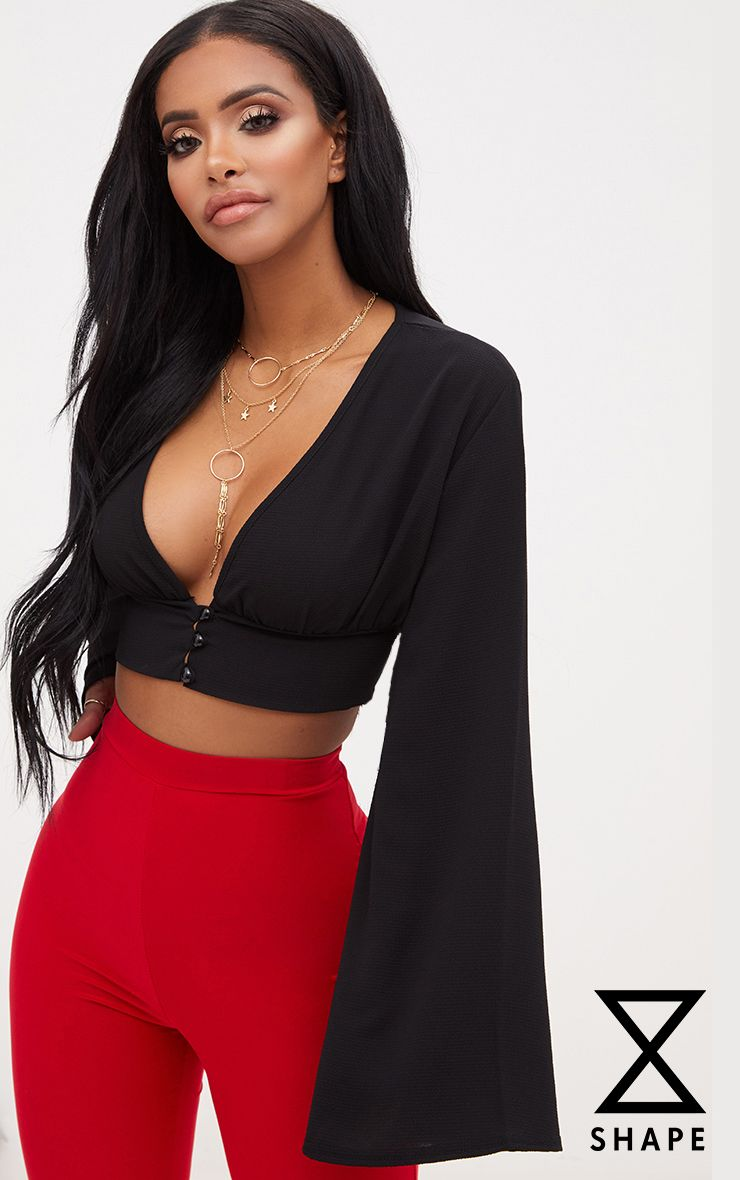 Shape Black Button Front Bell Sleeve Top