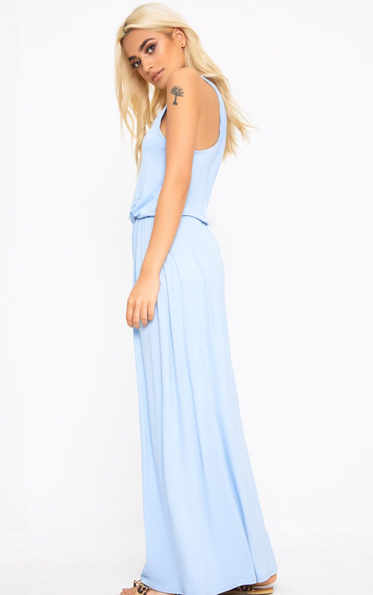 Baby Blue Bagged Over Maxi Dress Dresses