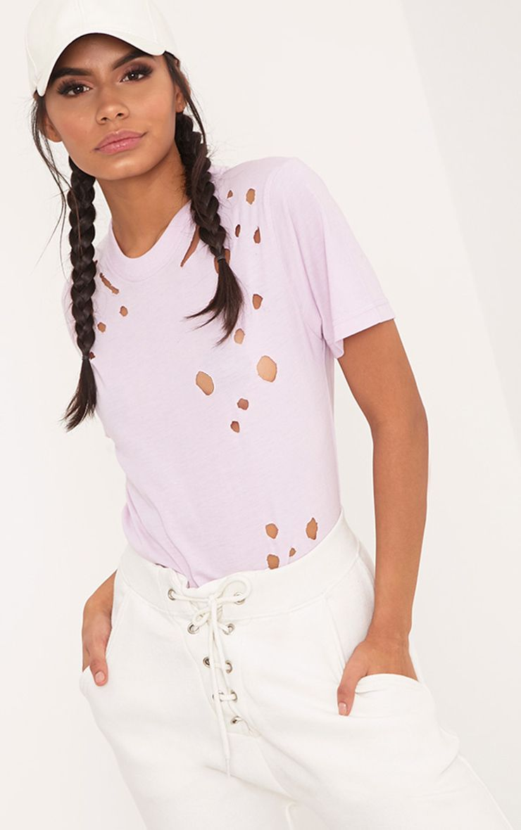 Estee Lilac Distressed T Shirt 1