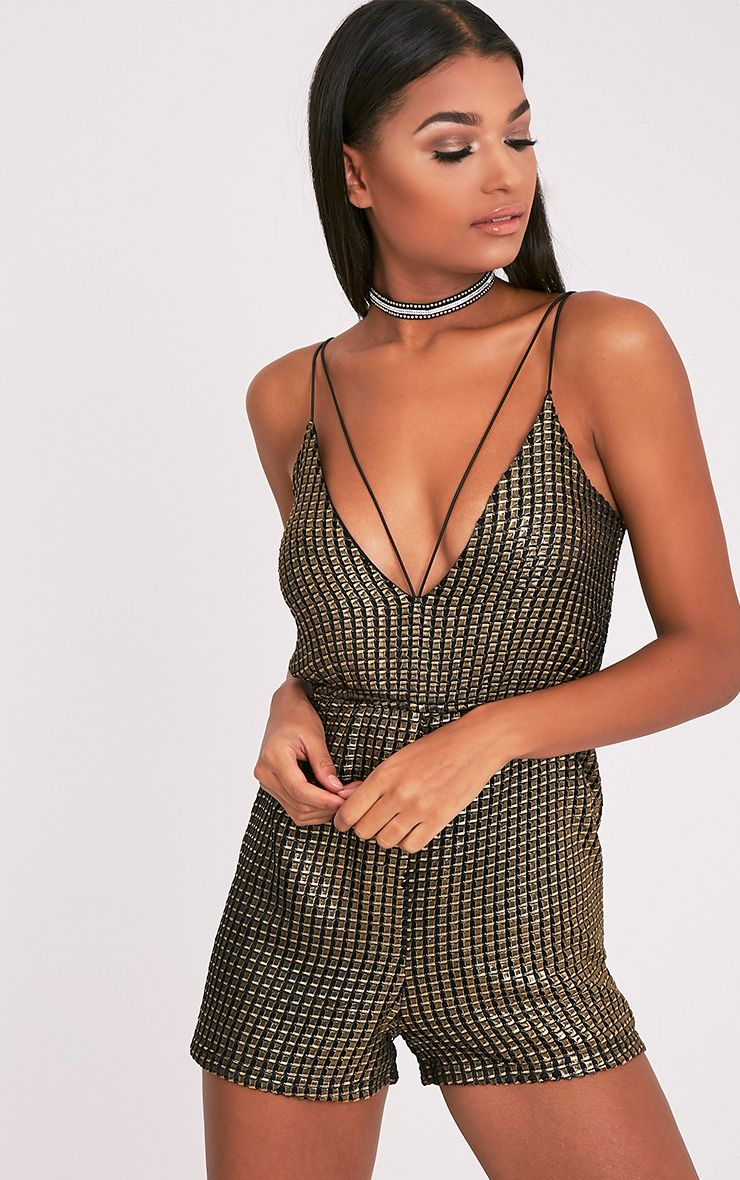 Kieranne Gold Metalic Texture Harness Playsuit