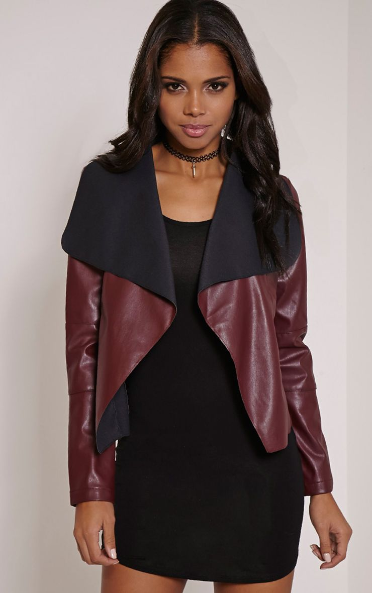 Mischa Burgundy Faux Leather Waterfall Jacket 1