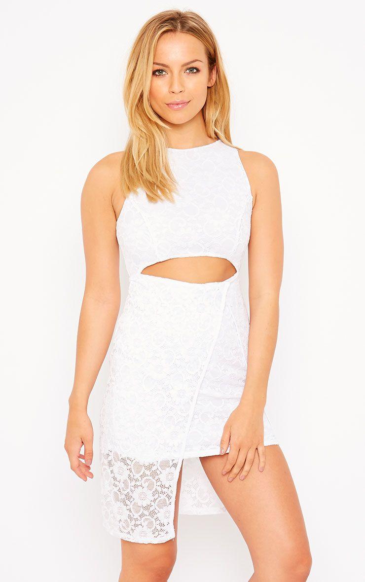 Maliha White Lace Cut Out Dress 1