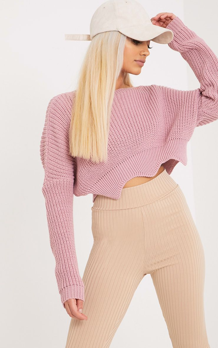 Aeesha Blush Scallop Crop Jumper