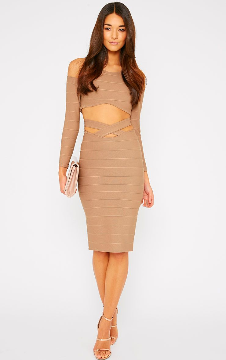 Jaimie Mocha Cut Out Bandage Midi Skirt 1