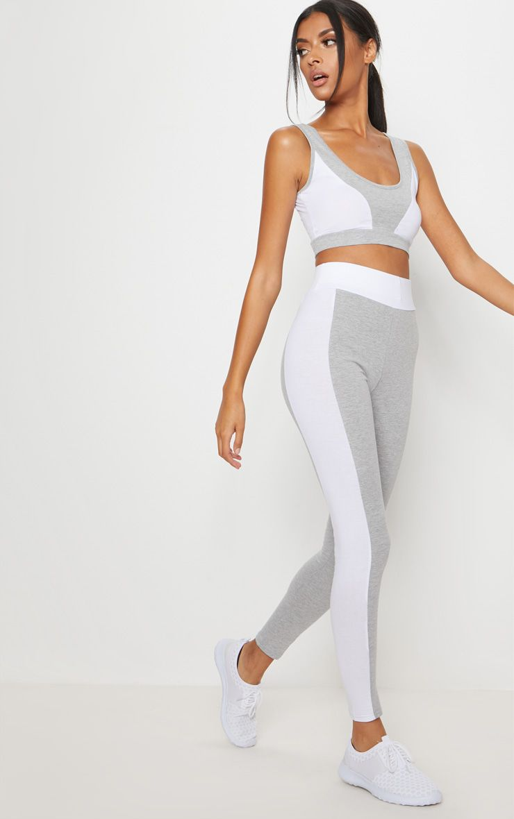 Grey Cotton White Contrast Sports Crop Top