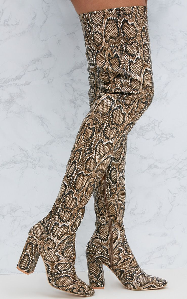 Snake PU Thigh Boot