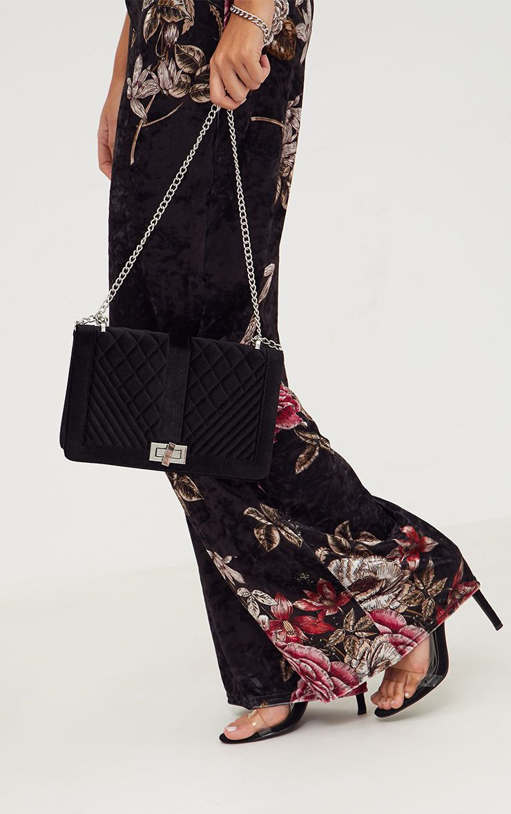 Black Velvet Quilted Shoulder Bag 1