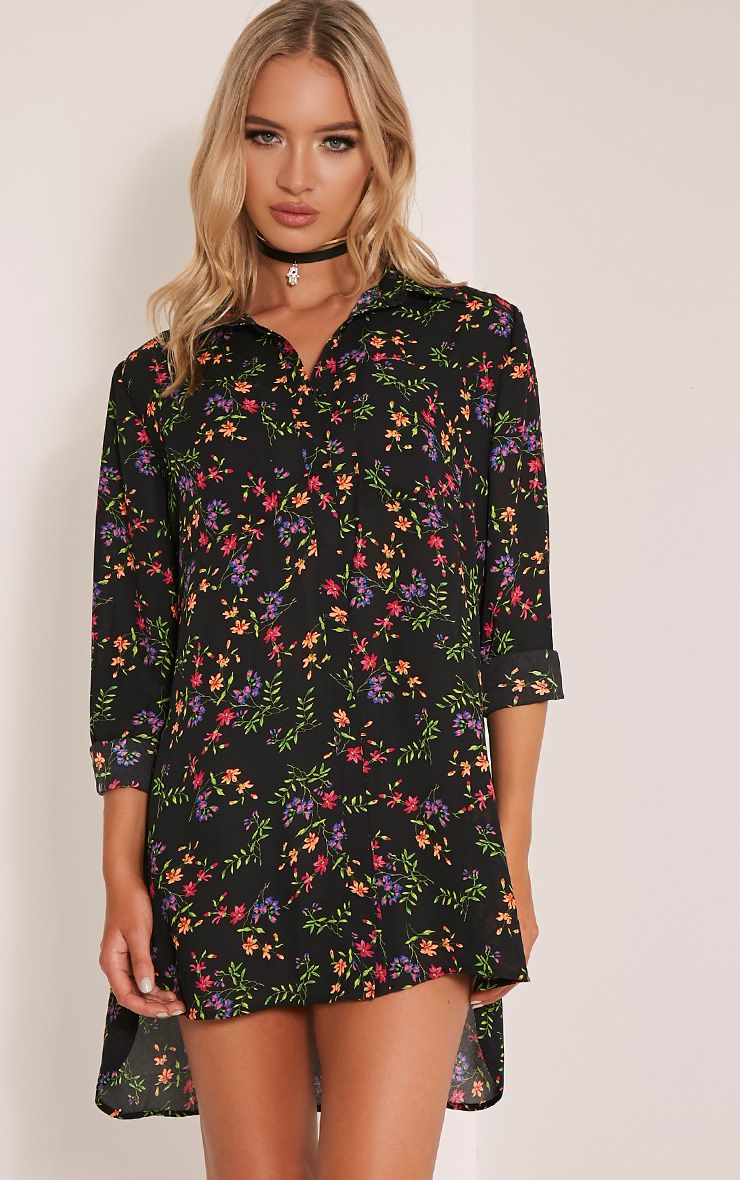 Tricia Bright Floral Paisley Print Shirt Dress 1