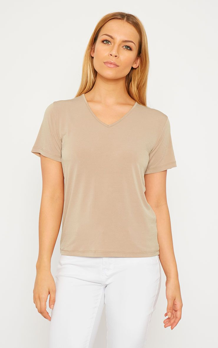 Basic Camel Slinky V-Neck T-Shirt 1