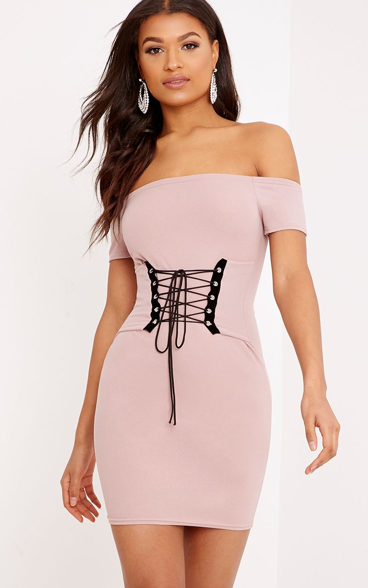 Bryce Nude Bardot corset Bodycon Dress