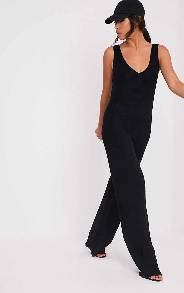 Kirstina Black Ribbed Wide Leg Knitted Jumpsuit 1