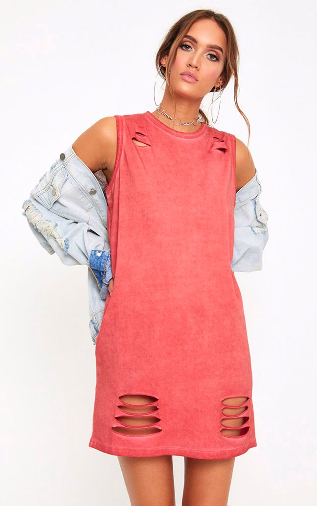 Red Acid Wash Sleeveless T Shirt Dress