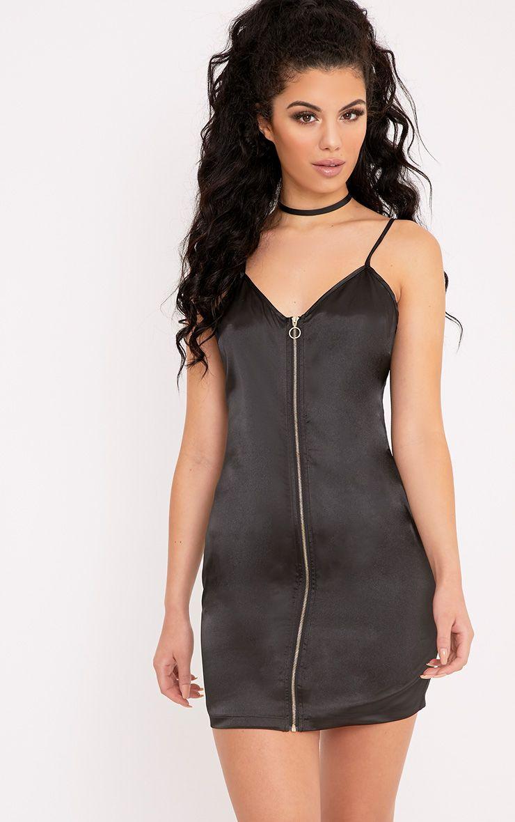Taylor Black Satin Zip Detail Bodycon Dress